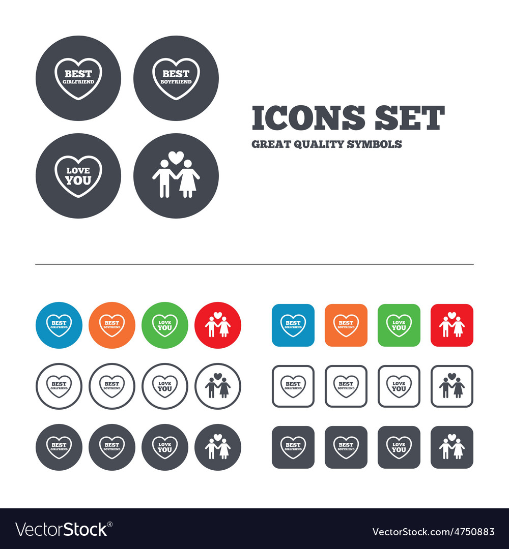 Valentine day love icons best girlfriend vector | Price: 1 Credit (USD $1)