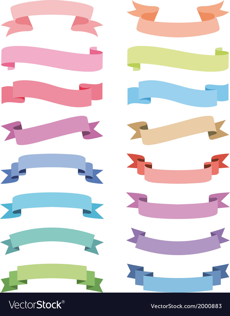Various ribbons set design elements vector