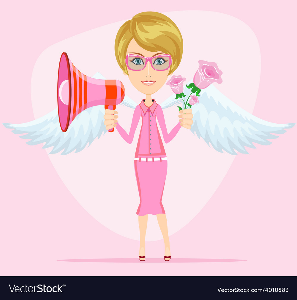 Young woman with a loudspeaker vector | Price: 1 Credit (USD $1)
