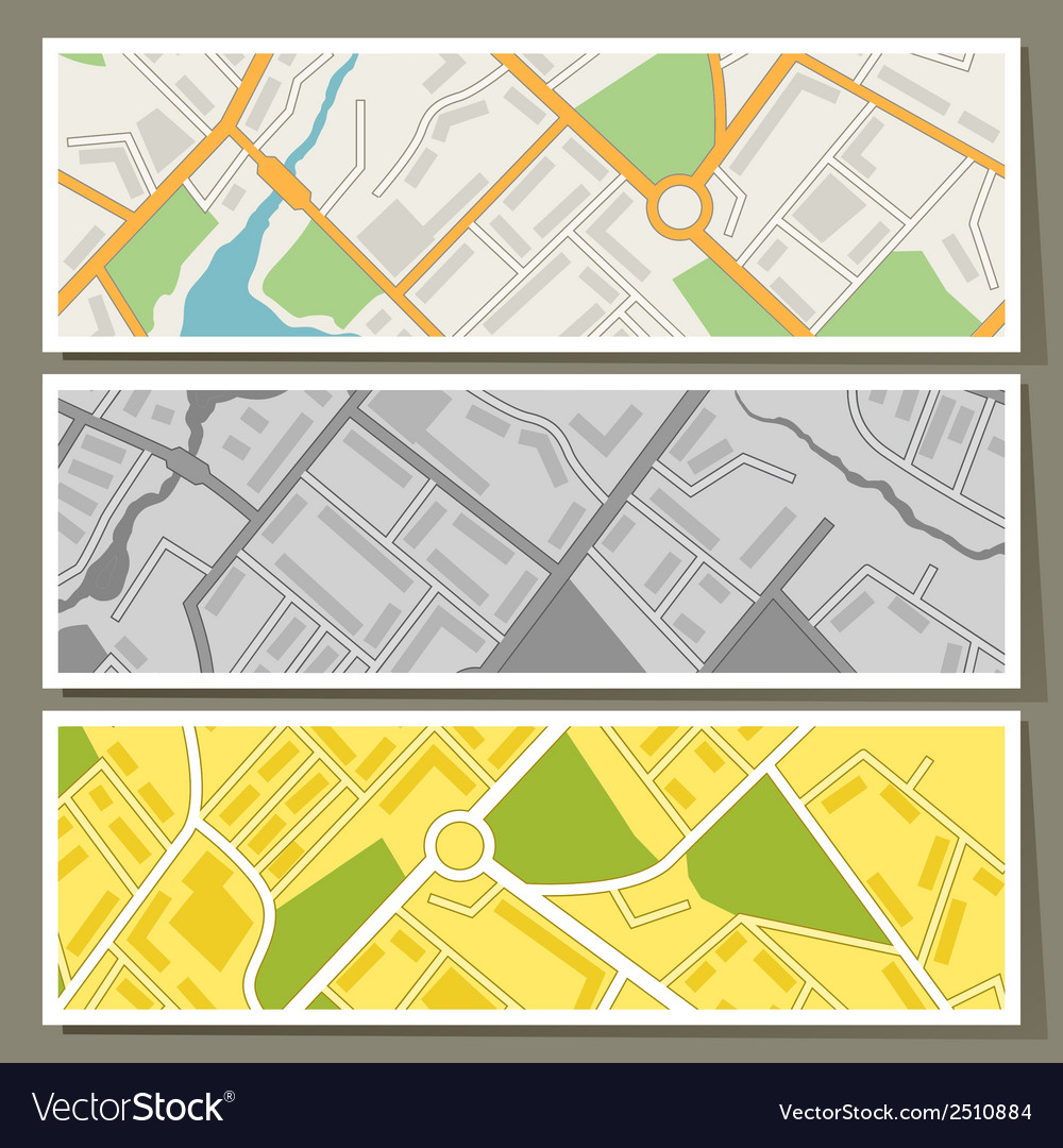 City map abstract horizontal banners background vector | Price: 1 Credit (USD $1)