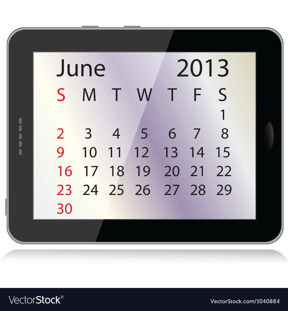 June 2013 calendar vector | Price: 1 Credit (USD $1)