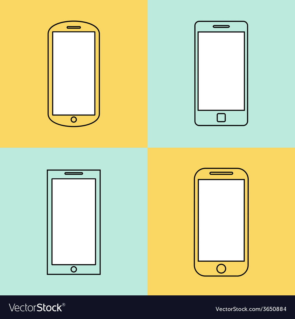 Mobile phone icons set smartphone design template vector | Price: 1 Credit (USD $1)
