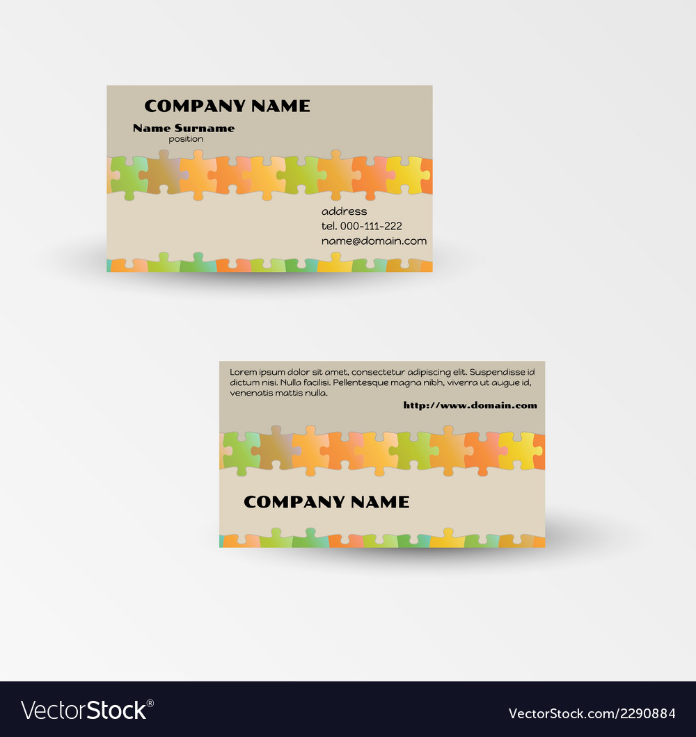 Modern puzzle business card template vector | Price: 1 Credit (USD $1)
