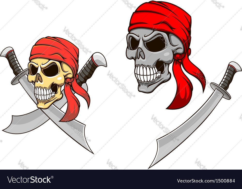 Pirate skull with sharp sabers vector | Price: 1 Credit (USD $1)