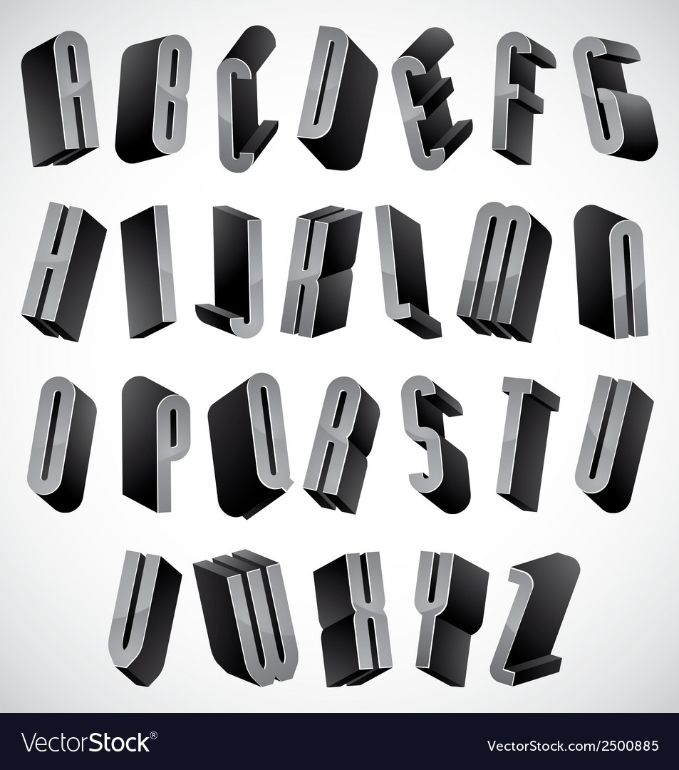 3d font thin and tall dimensional letters set vector | Price: 1 Credit (USD $1)