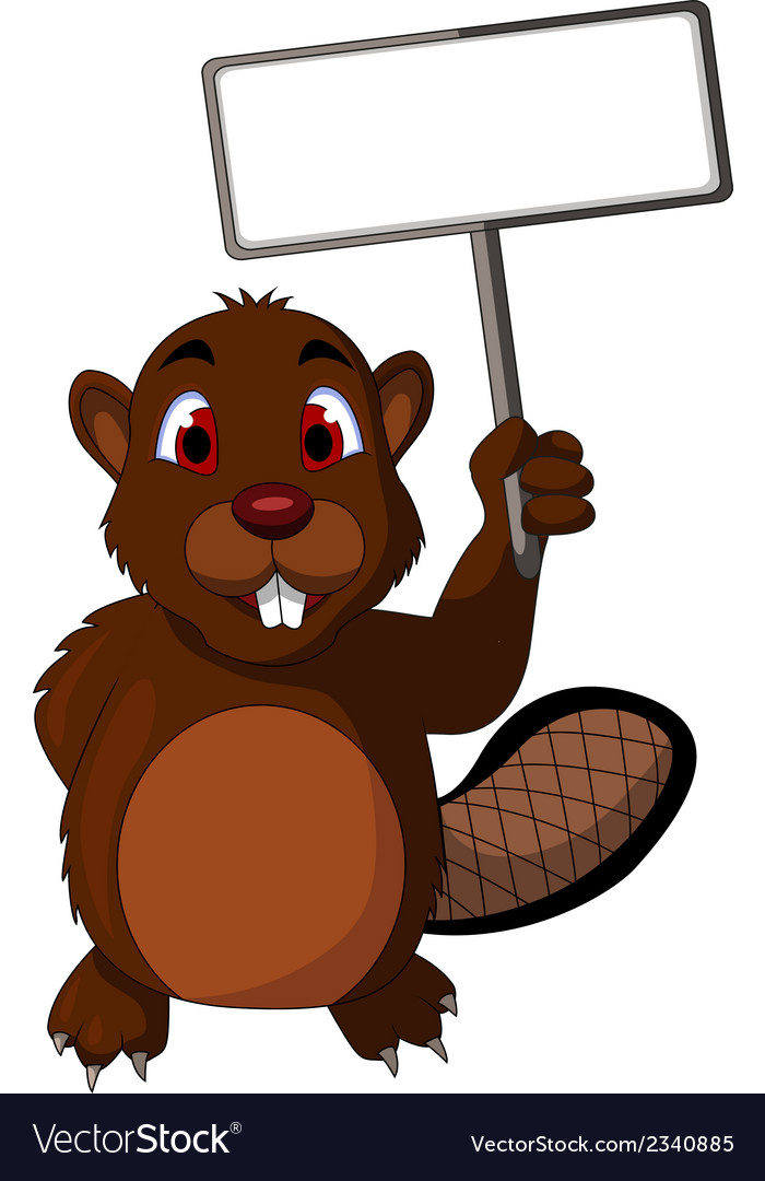 Beaver cartoon with blank sign vector | Price: 1 Credit (USD $1)