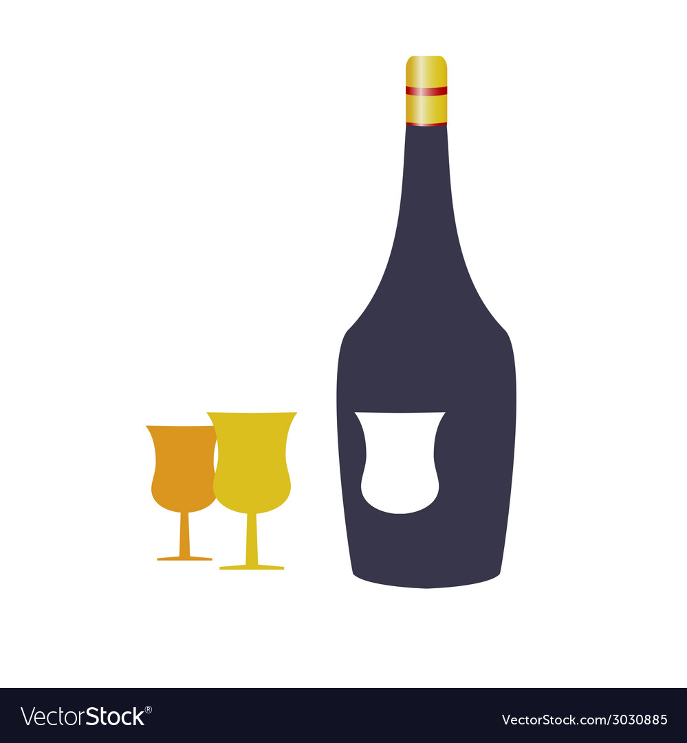 Bottle wine and two glasses vector | Price: 1 Credit (USD $1)