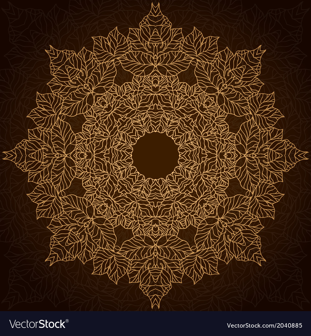 Brown and gold lace circle ornament vector | Price: 1 Credit (USD $1)