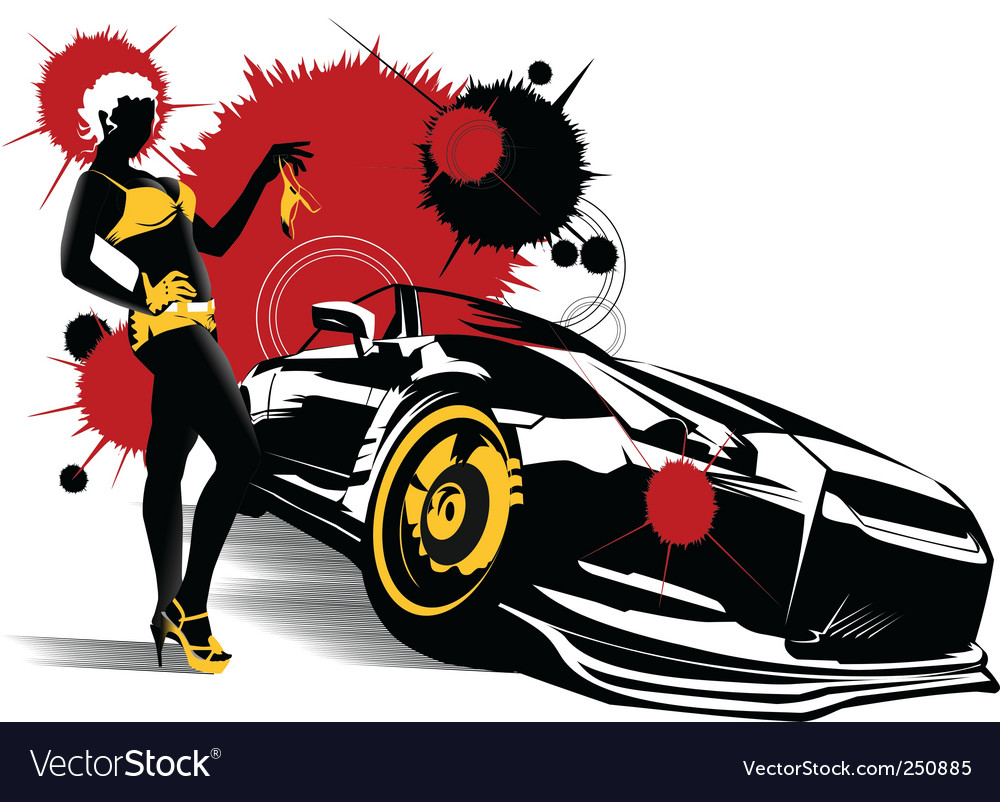 Car girl vector | Price: 1 Credit (USD $1)