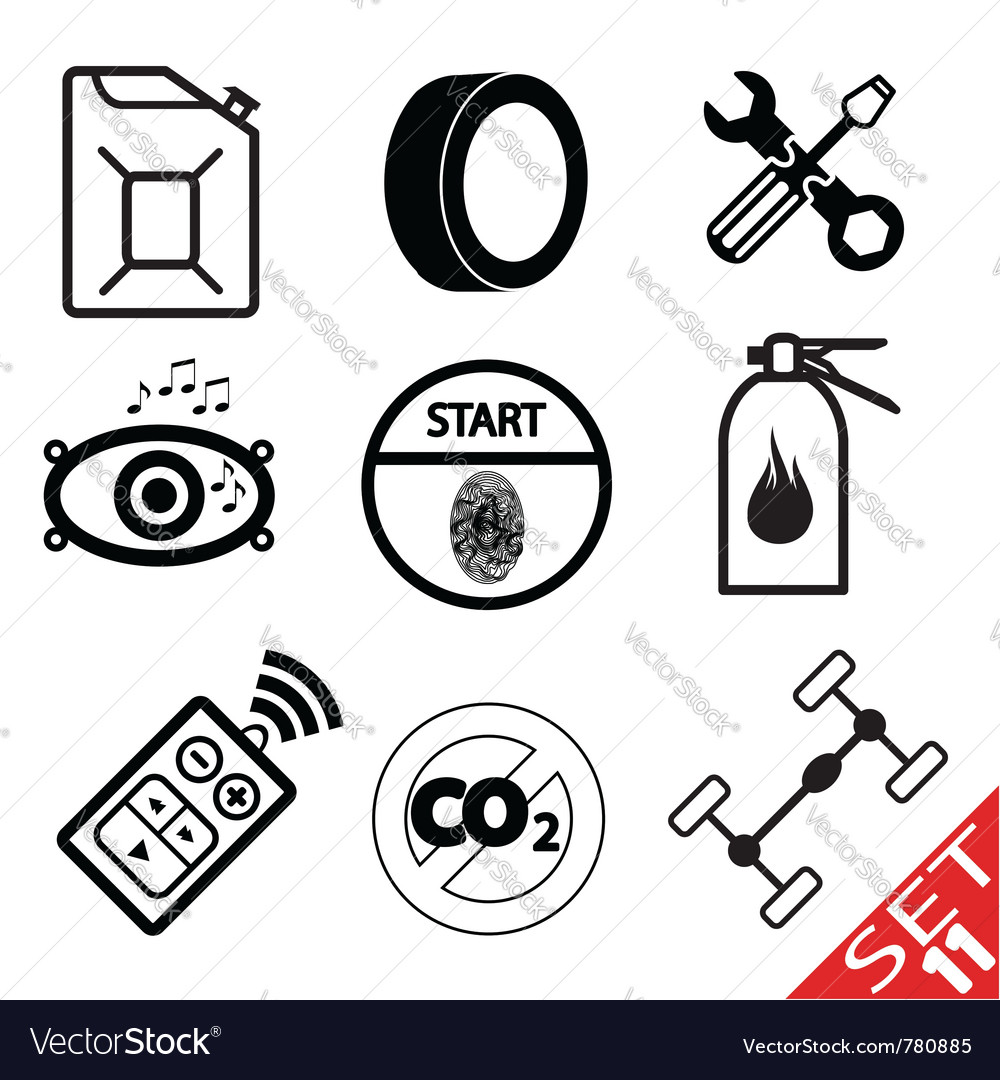 Car part icon set 11 vector | Price: 1 Credit (USD $1)