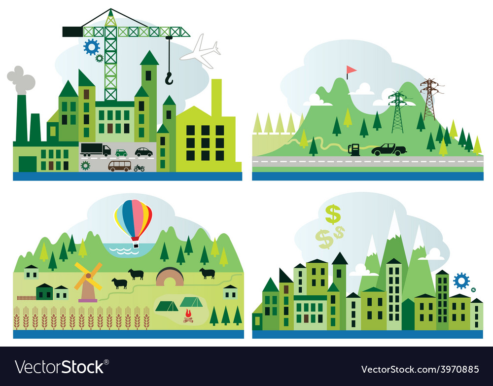 Cartoon map with different landscape vector | Price: 1 Credit (USD $1)