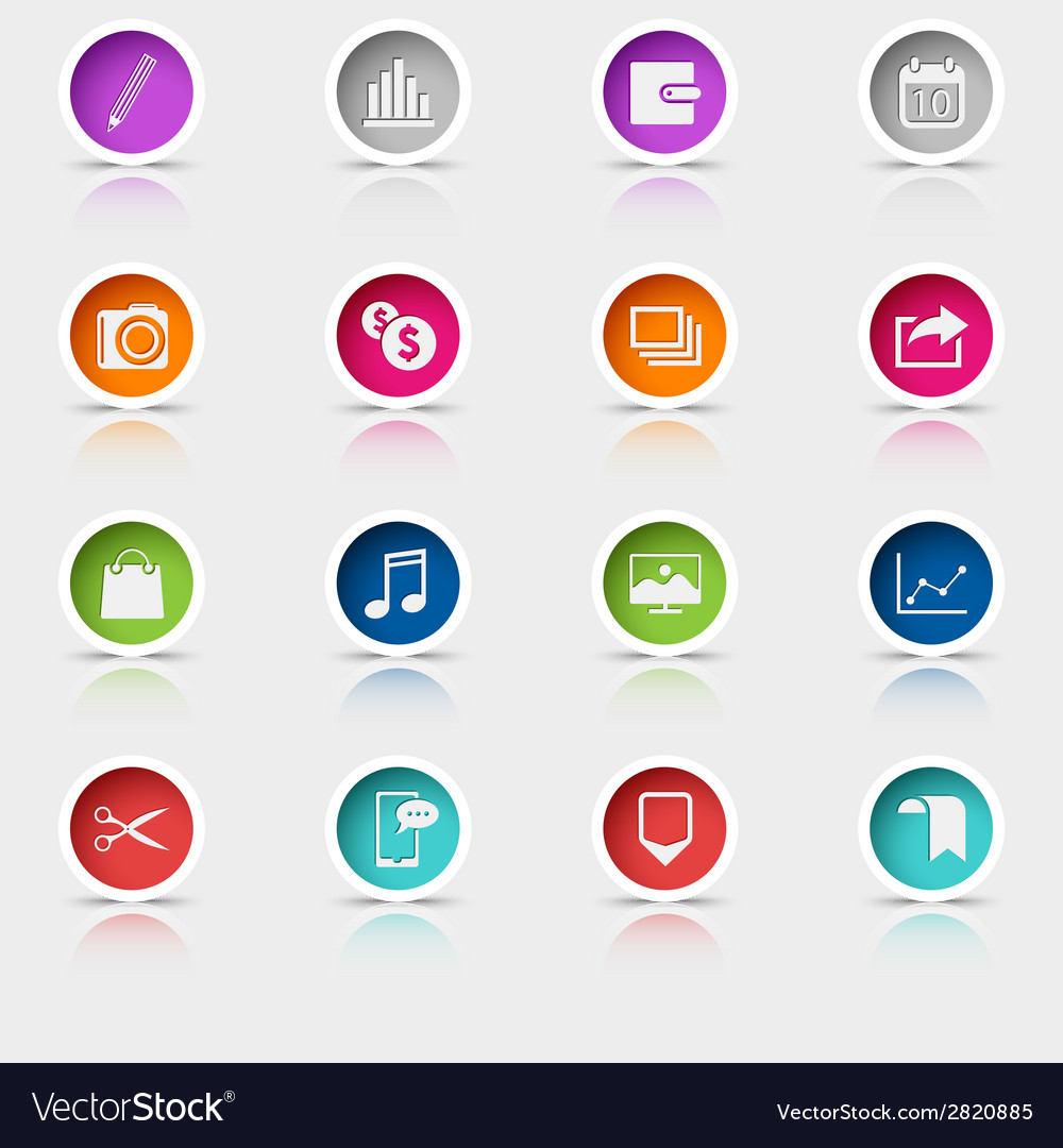 Colored set round web buttons icons element vector | Price: 1 Credit (USD $1)