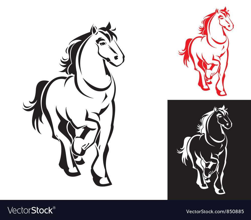 Horses on white or black backgrounds vector | Price: 1 Credit (USD $1)