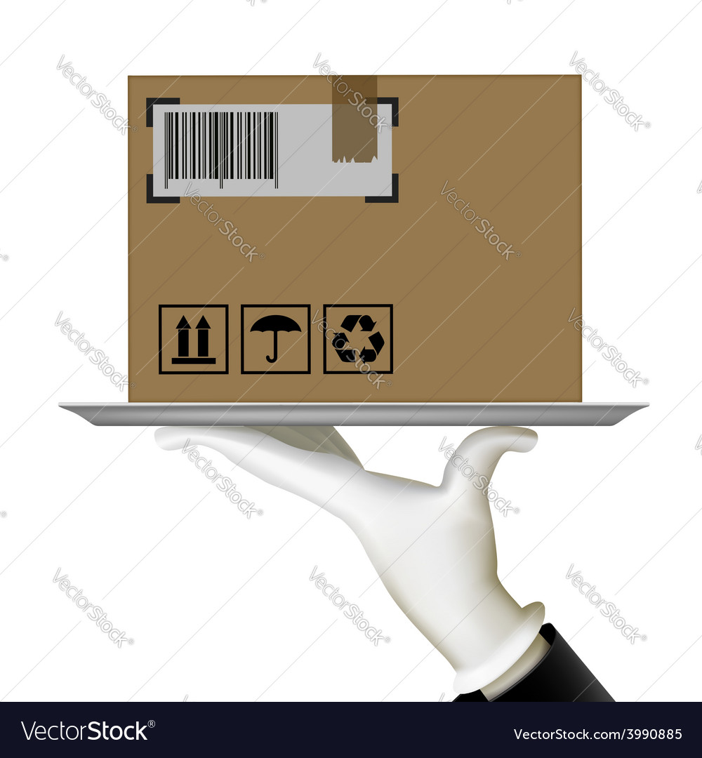 Human hand holding a tray with a box vector | Price: 1 Credit (USD $1)