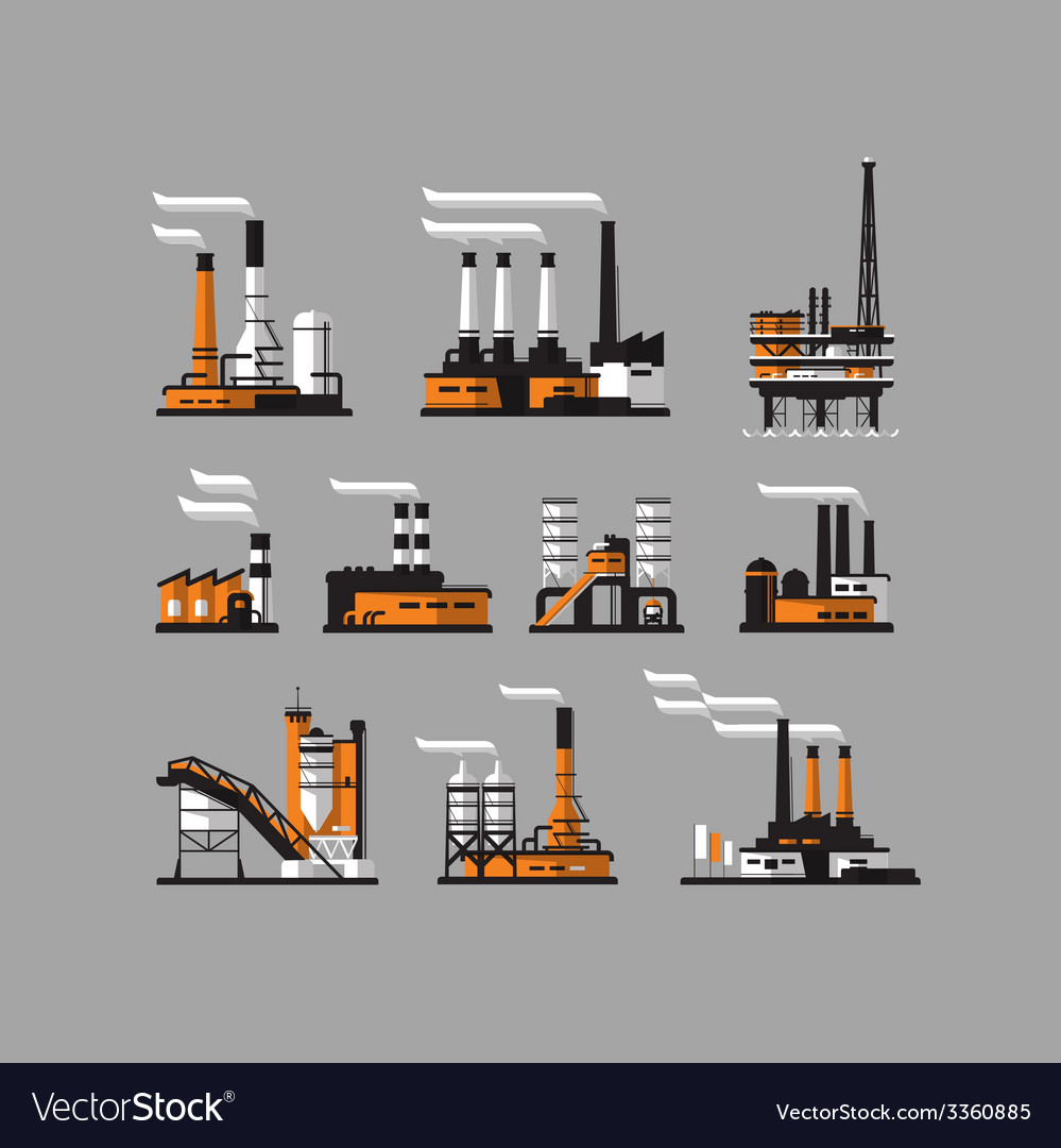 Industrial factory icons on gray background vector | Price: 3 Credit (USD $3)