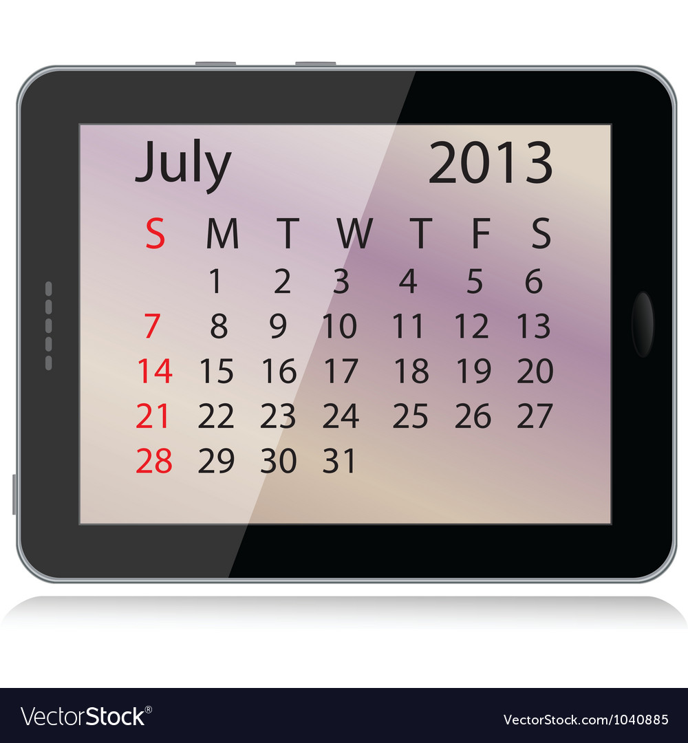 July 2013 calendar vector | Price: 1 Credit (USD $1)