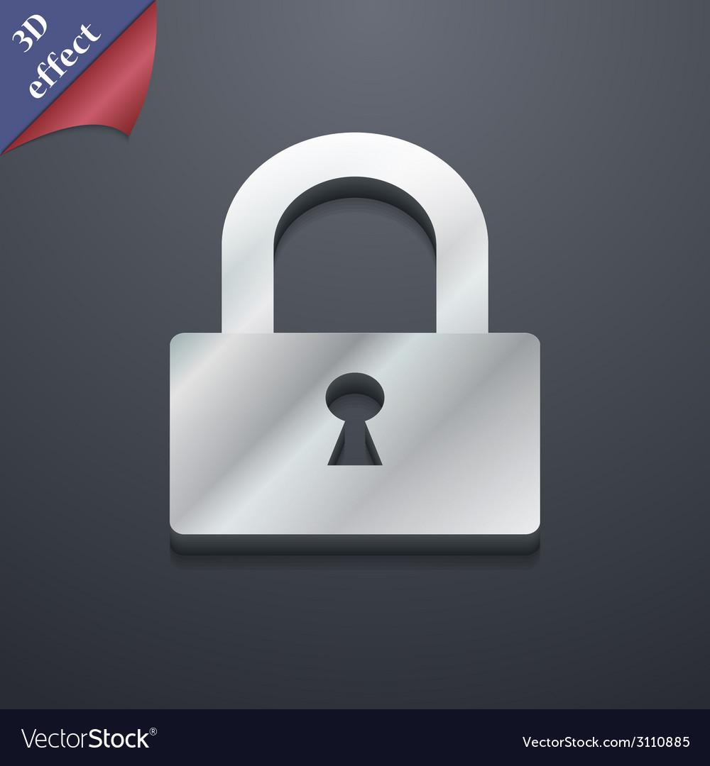 Lock icon symbol 3d style trendy modern design vector | Price: 1 Credit (USD $1)