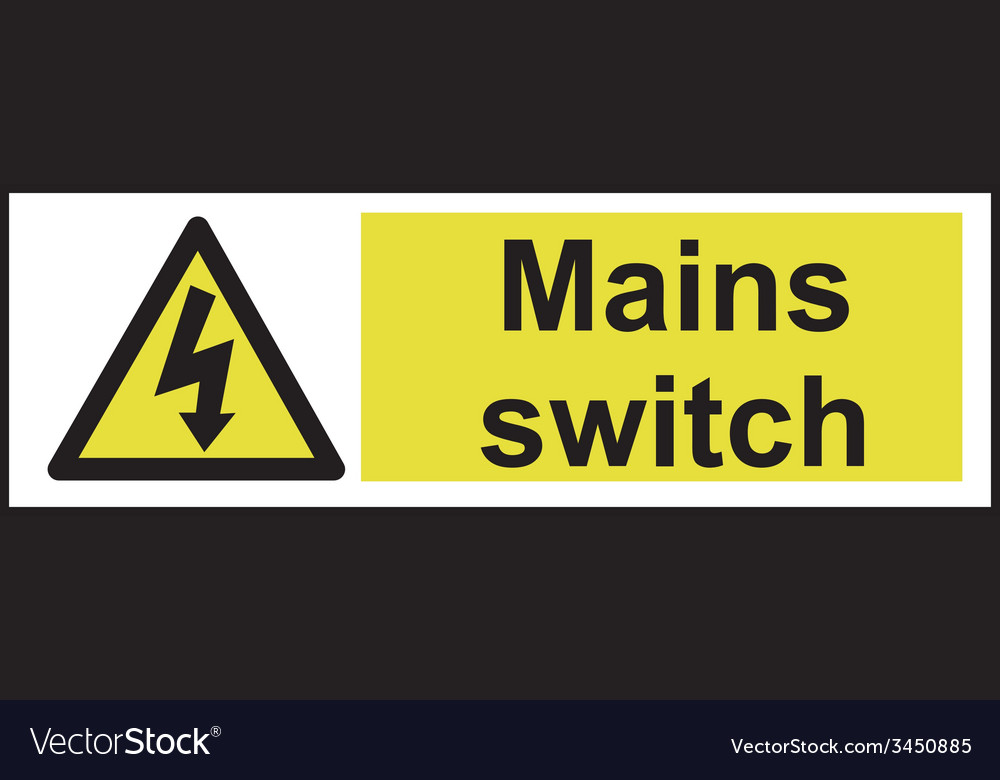 Mains switch safety sign vector   Price: 1 Credit (USD $1)