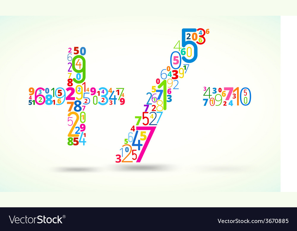 Math operands colored font from numbers vector | Price: 1 Credit (USD $1)