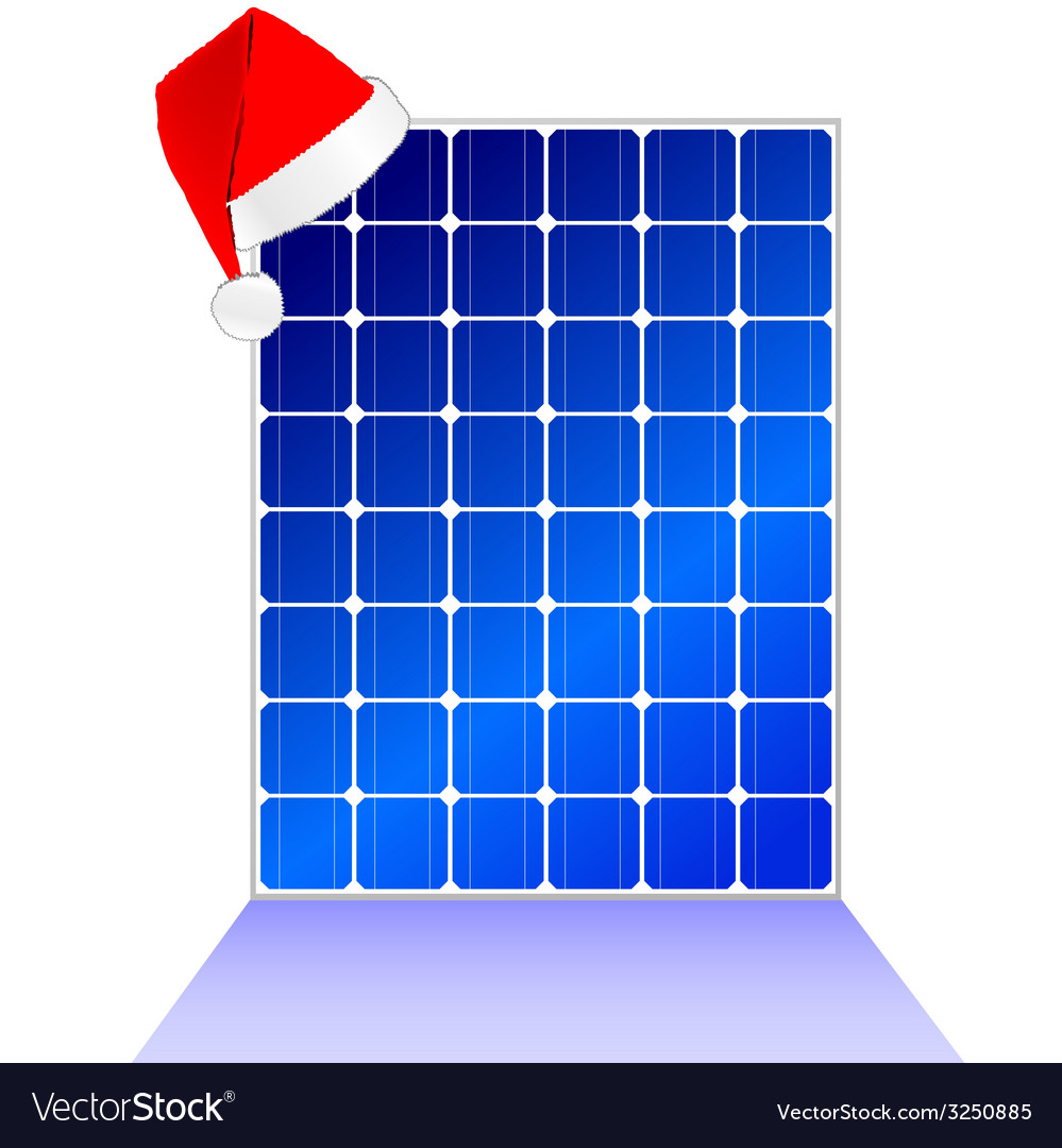 Solar panel with new year hat vector | Price: 1 Credit (USD $1)