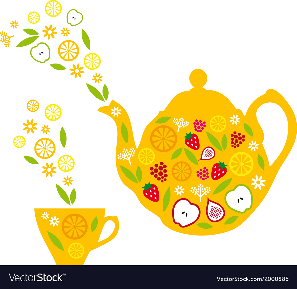 Tea pot and cup with fruits vector | Price: 1 Credit (USD $1)