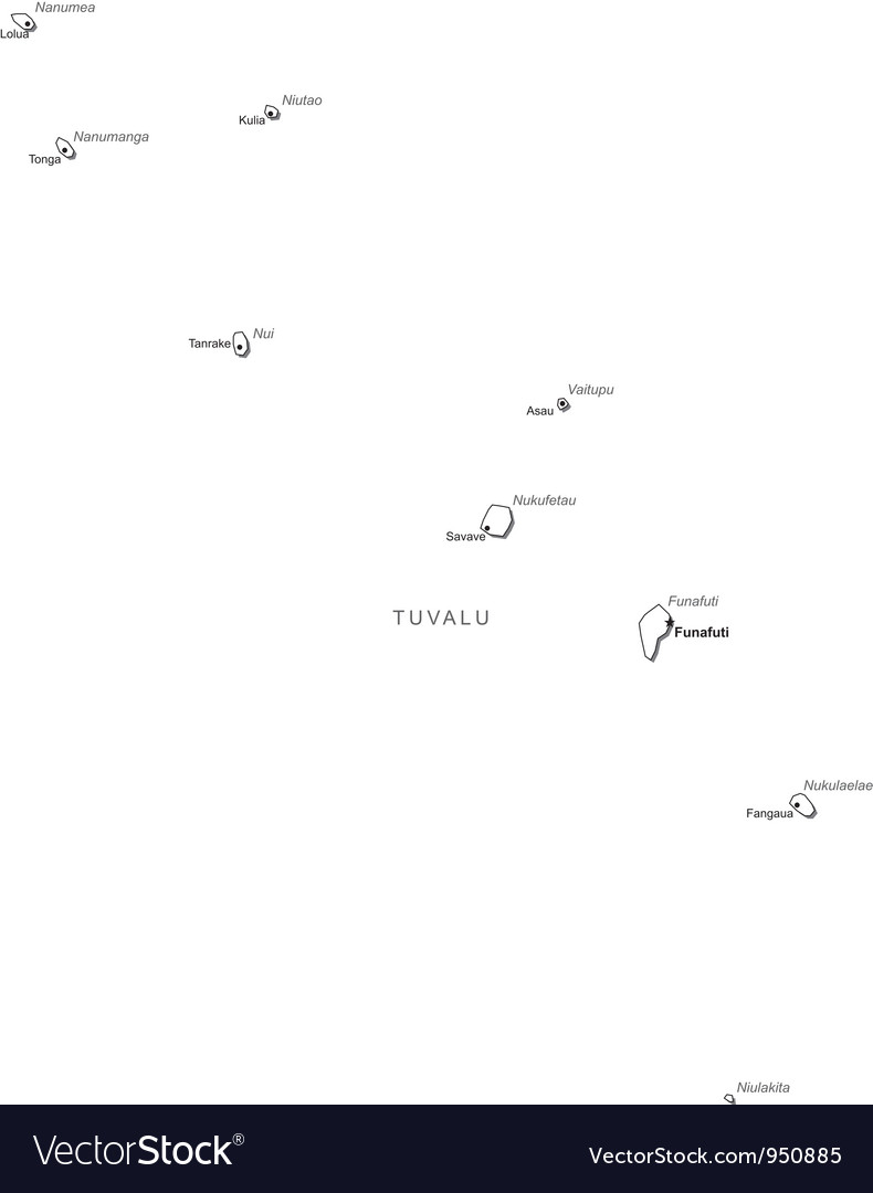 Tuvalu black white map with major cities vector   Price: 1 Credit (USD $1)