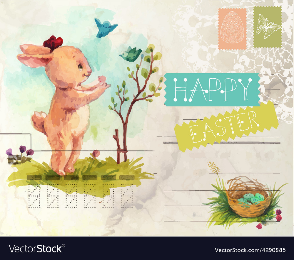 Watercolor vintage style easter card vector   Price: 3 Credit (USD $3)
