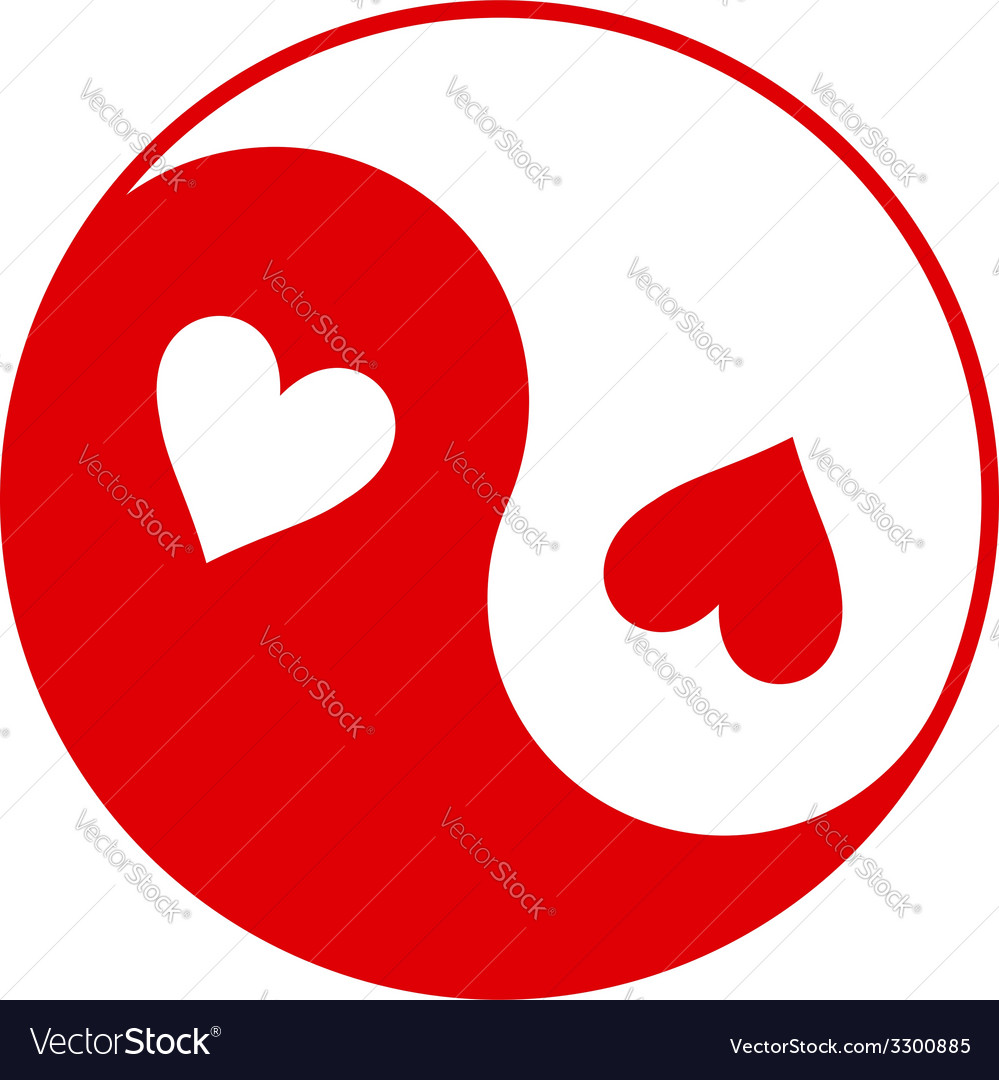 Yin-yang symbol with hearts instead of dots vector | Price: 1 Credit (USD $1)