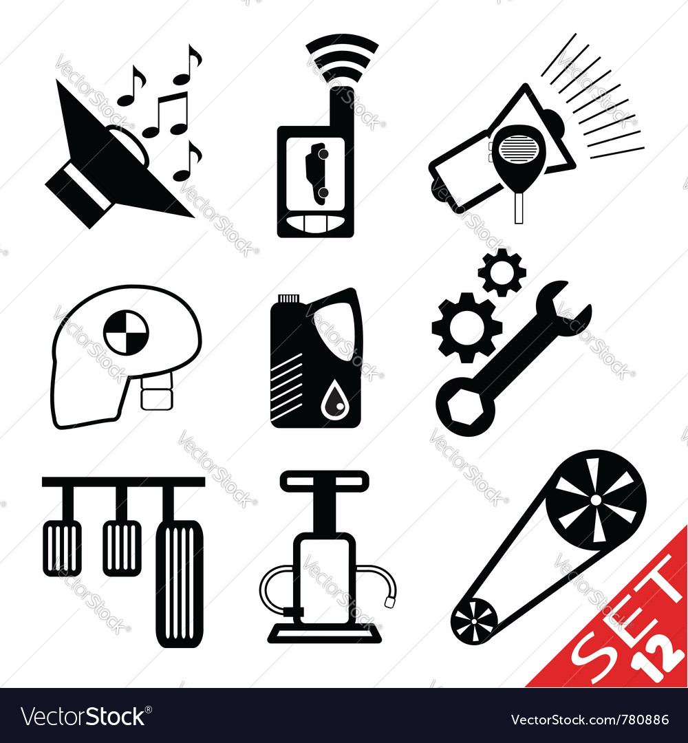 Car part icon set 12 vector | Price: 1 Credit (USD $1)
