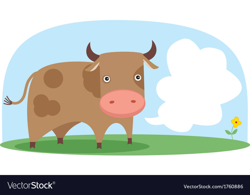 Cow in the field vector | Price: 1 Credit (USD $1)