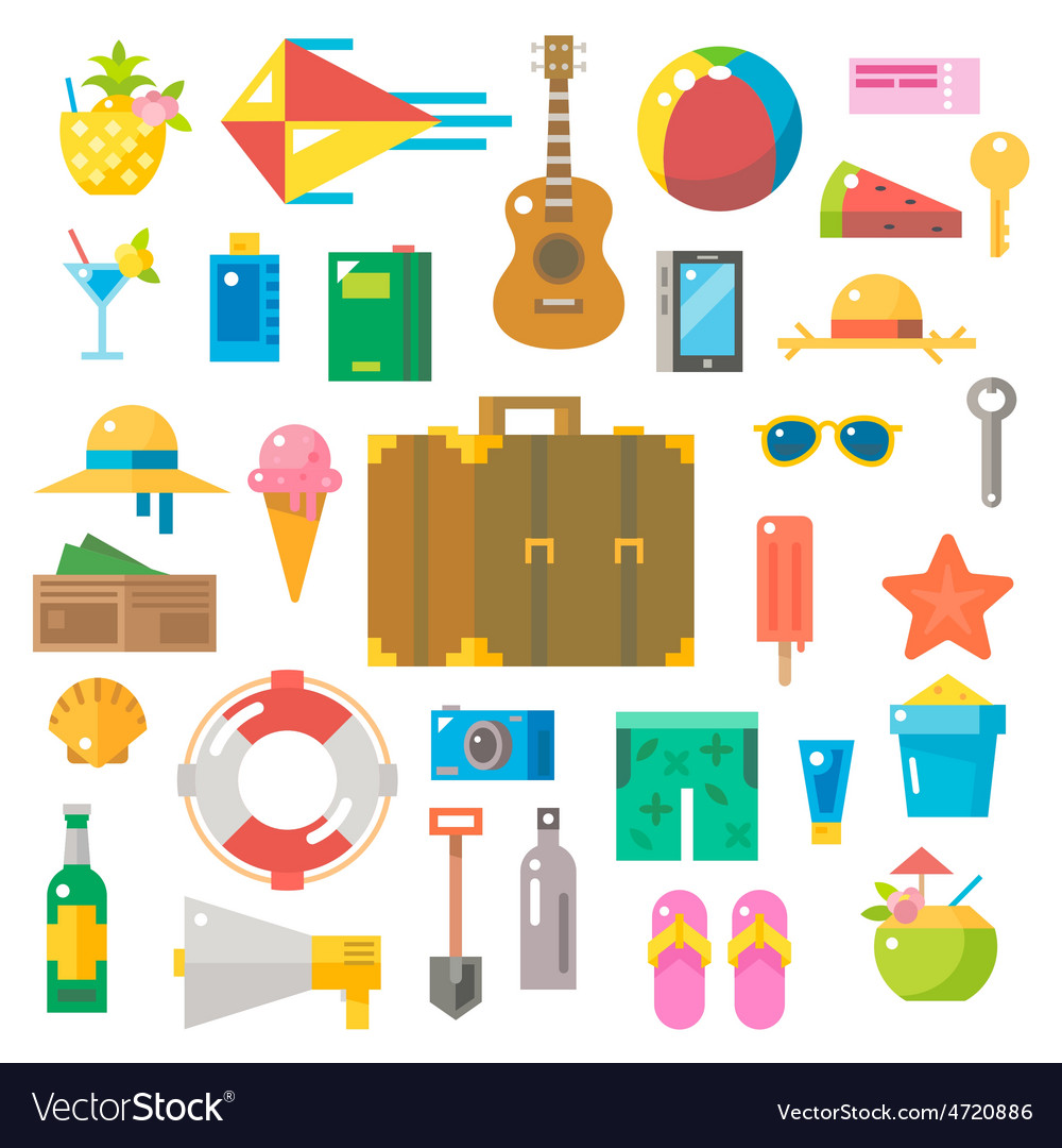 Flat design of summer beach items set vector | Price: 1 Credit (USD $1)