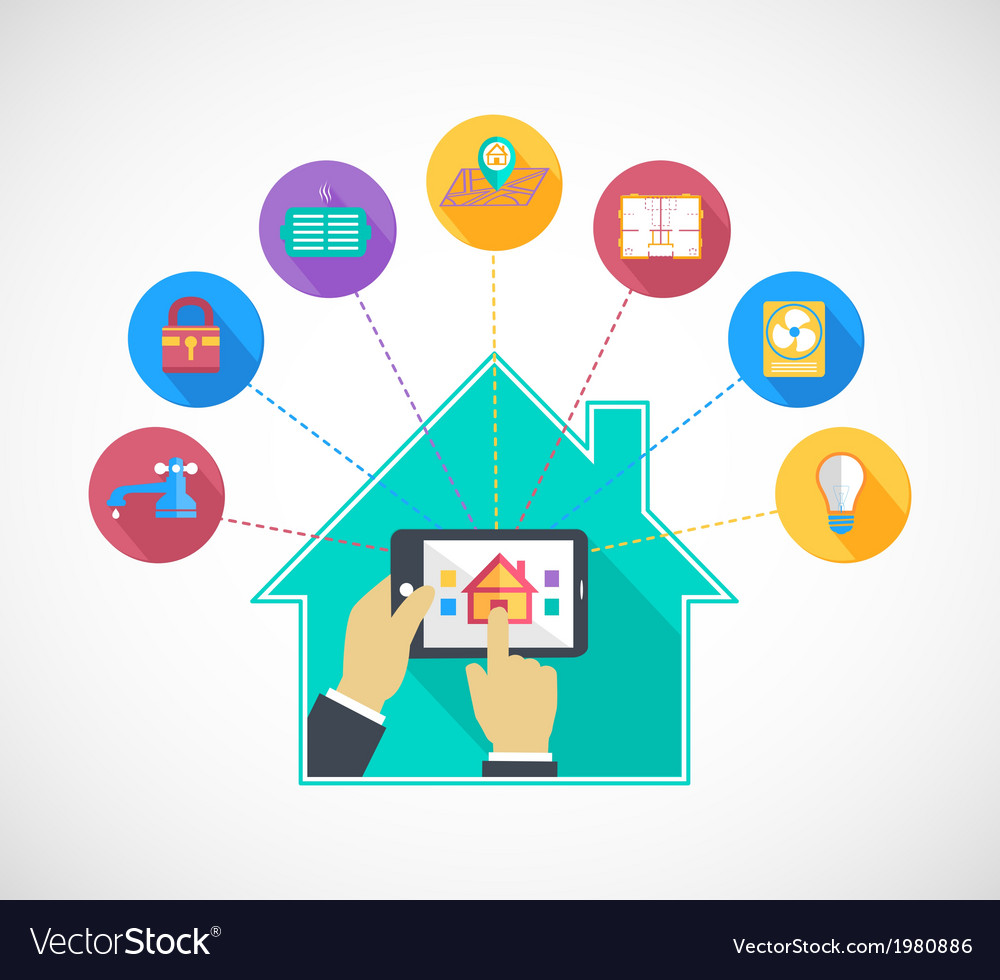 Hand holding mobile phone controls smart home vector | Price: 1 Credit (USD $1)