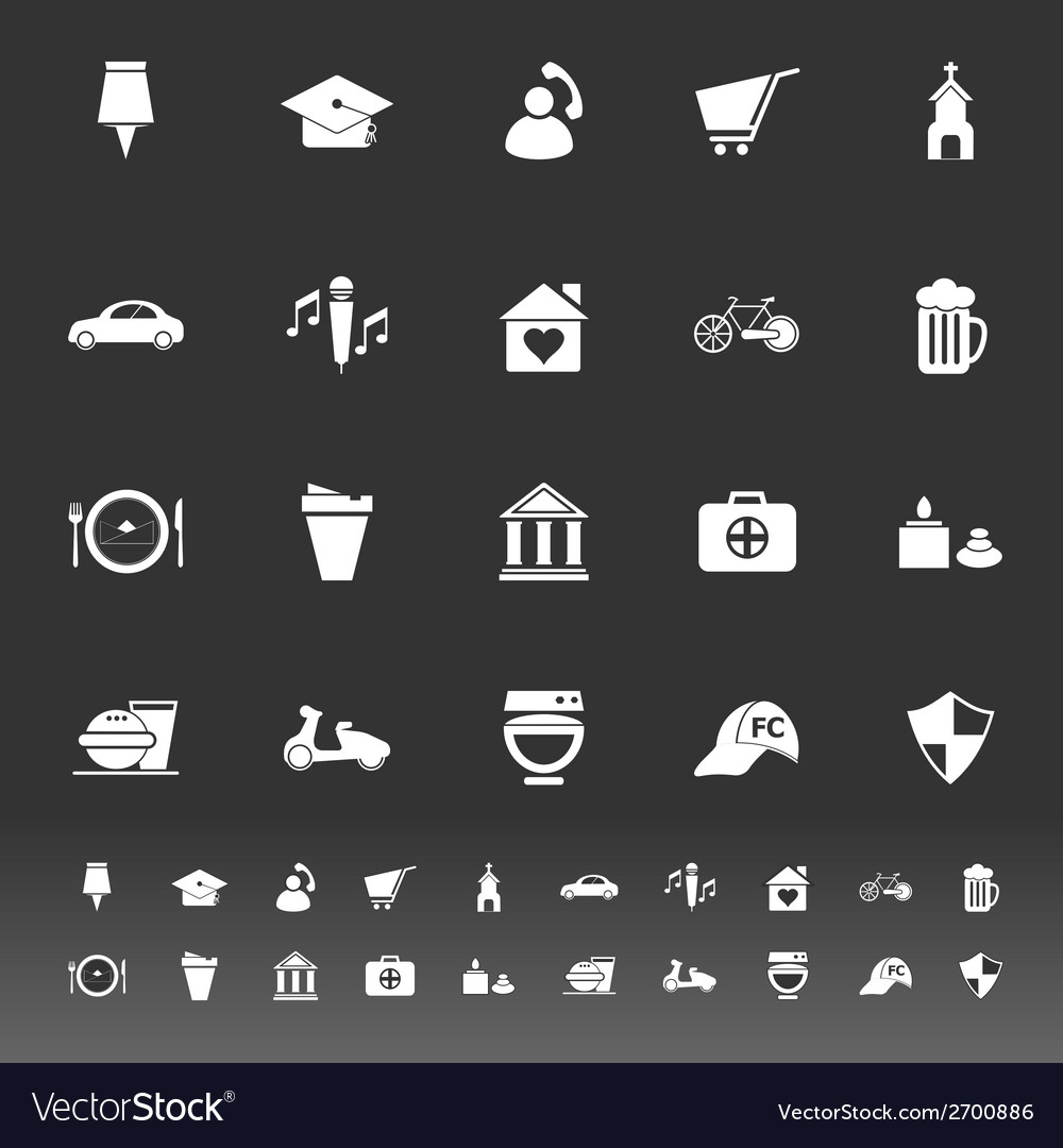 Map sign and symbol icons on gray background vector | Price: 1 Credit (USD $1)