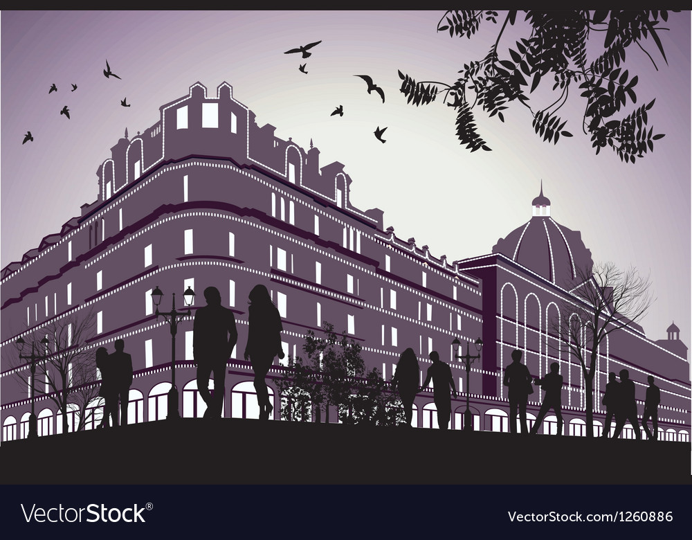 Men and women walk past german parliament building vector | Price: 1 Credit (USD $1)