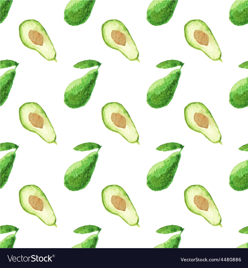 Seamless watercolor pattern with avocado on the vector | Price: 1 Credit (USD $1)