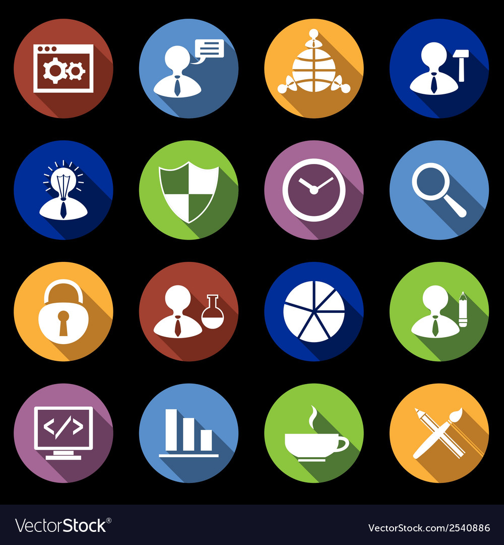 Seo icons set flat vector | Price: 1 Credit (USD $1)