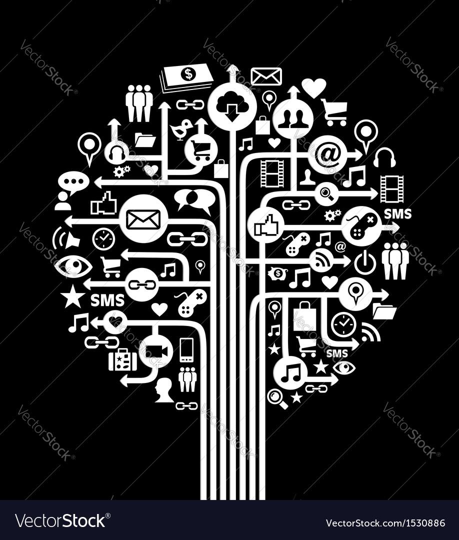 Social media concept tree vector | Price: 1 Credit (USD $1)