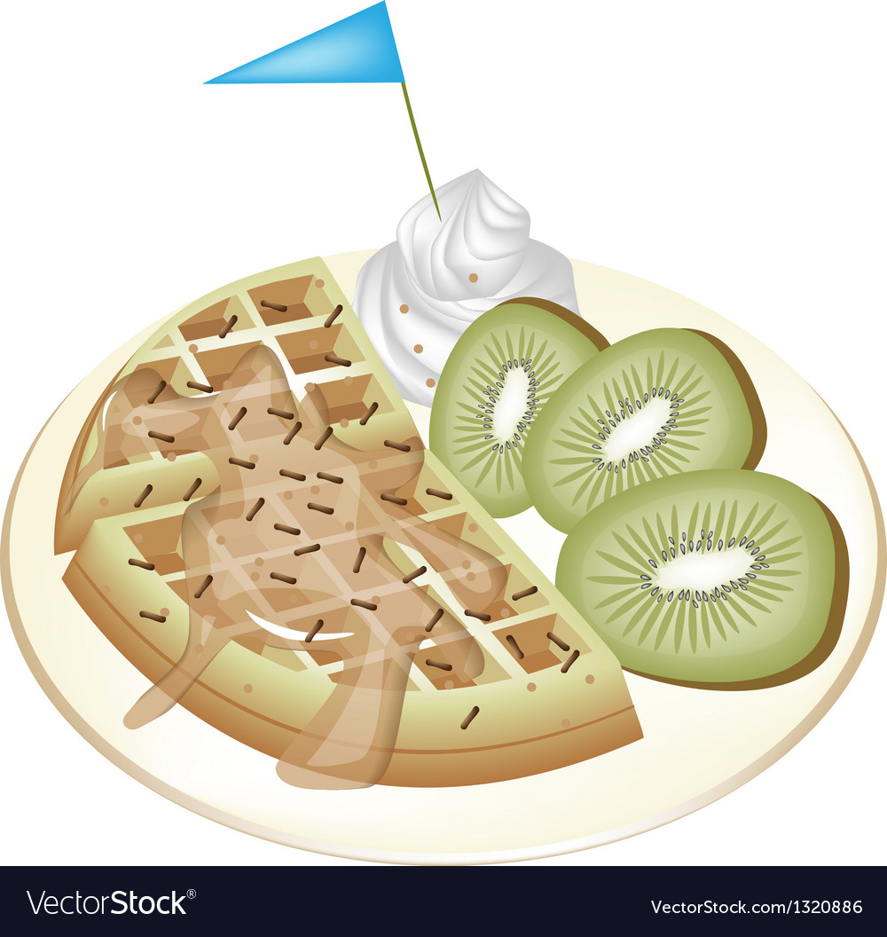 Tradition waffle with kiwi and whipped cream vector | Price: 1 Credit (USD $1)
