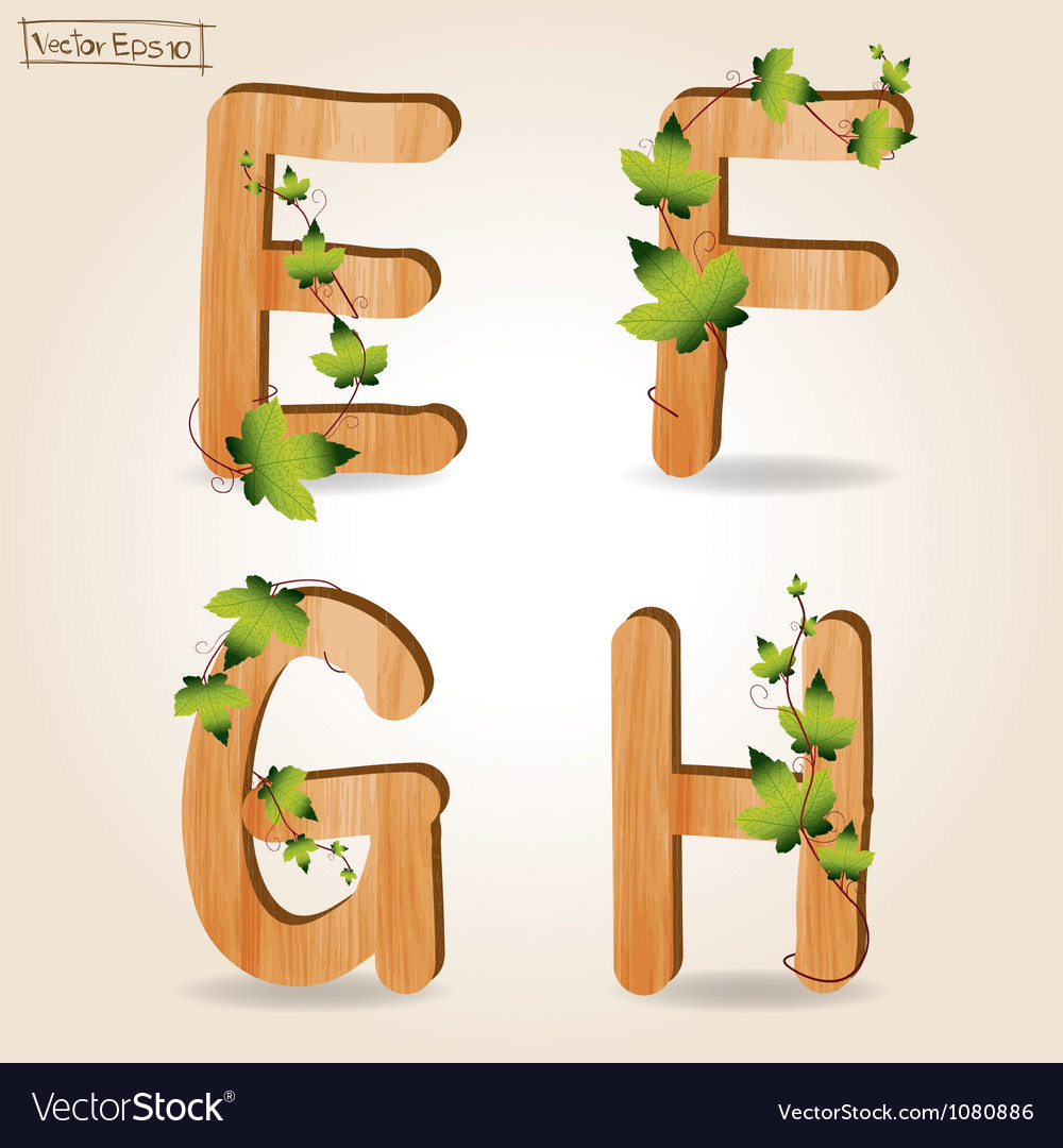 Wood alphabet with branch green leaves vector | Price: 1 Credit (USD $1)