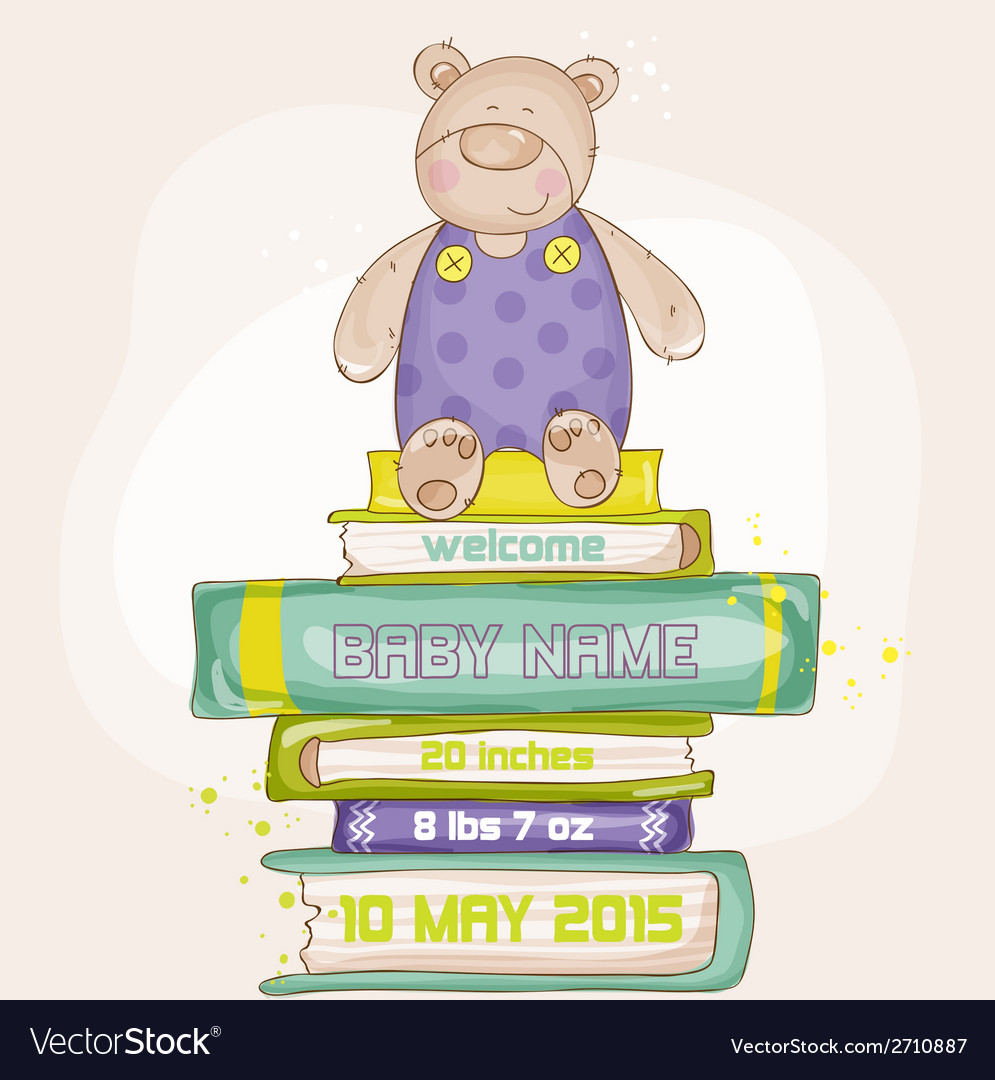 Baby bear shower or arrival card vector | Price: 1 Credit (USD $1)