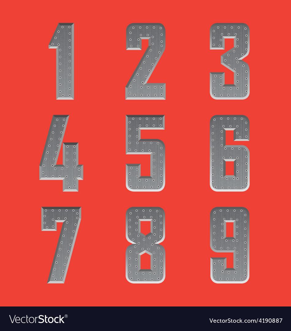 Brushed metal font series 4 1-9 vector | Price: 1 Credit (USD $1)