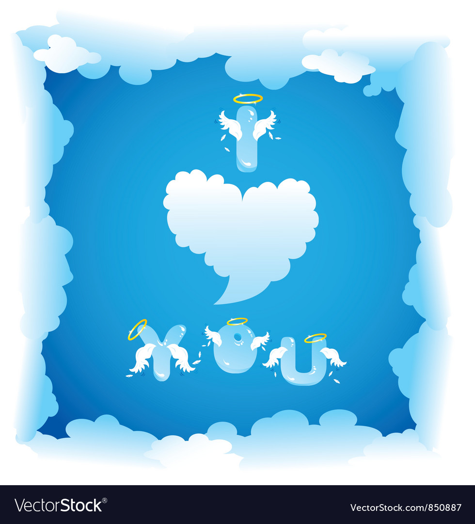 Card for valentines day with funny angels letters vector | Price: 1 Credit (USD $1)