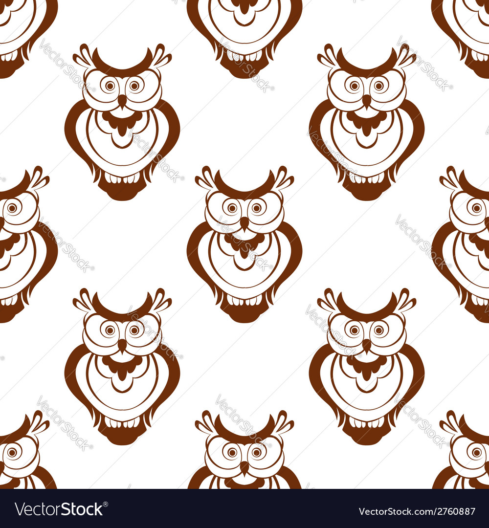 Cartoon owlet seamless pattern vector | Price: 1 Credit (USD $1)