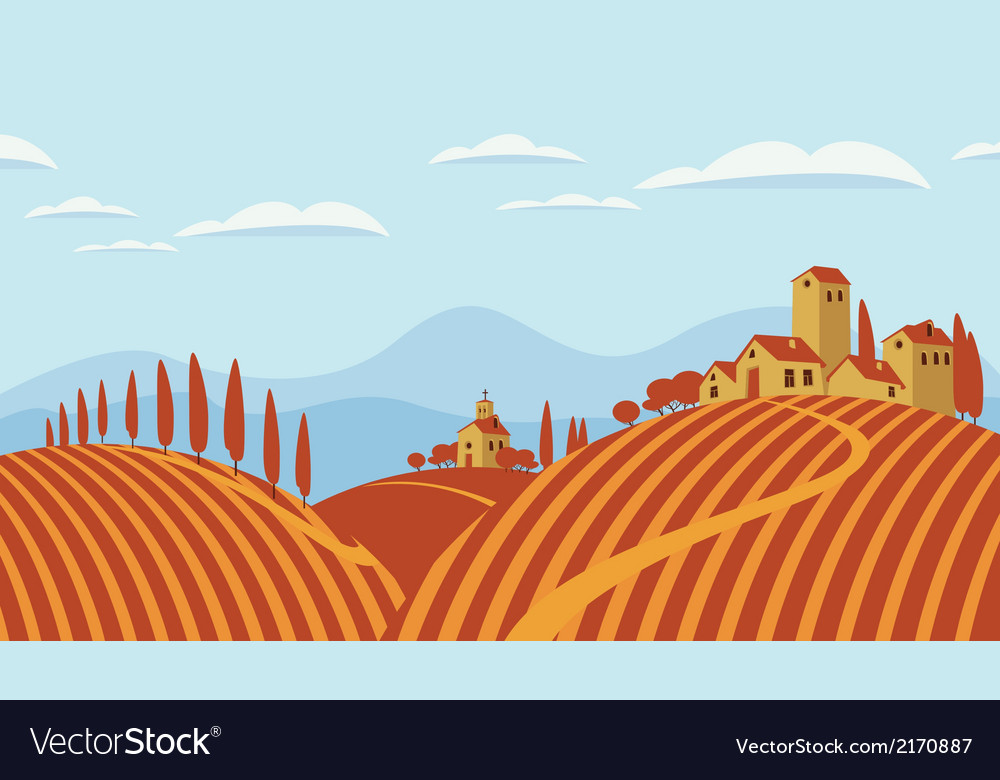 Italian countryside vector | Price: 1 Credit (USD $1)