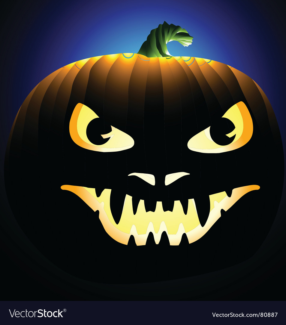 Scary face carved into pumpkin vector | Price: 1 Credit (USD $1)