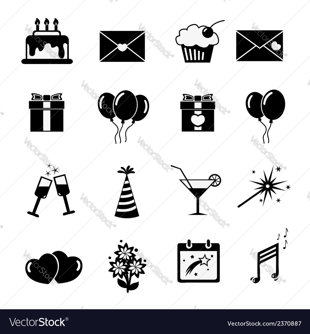 Set of celebratory icons symbols vector | Price: 1 Credit (USD $1)