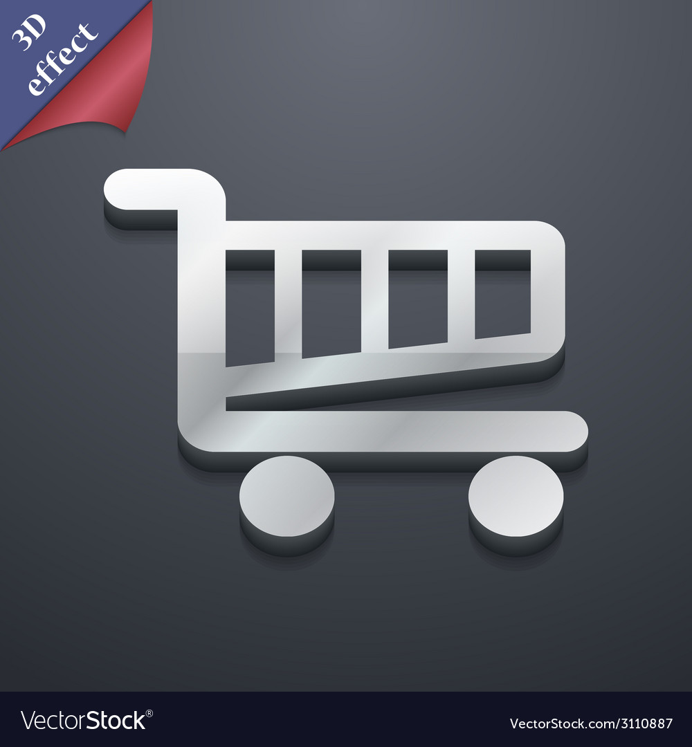 Shopping cart icon symbol 3d style trendy modern vector | Price: 1 Credit (USD $1)