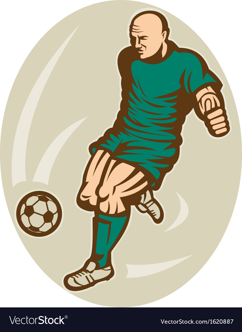 Soccer player running and kicking the ball vector | Price: 1 Credit (USD $1)