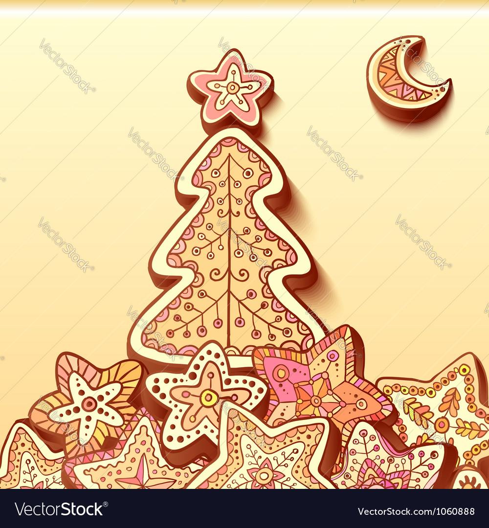 Christmas tree chocolate honey-cakes background vector | Price: 1 Credit (USD $1)