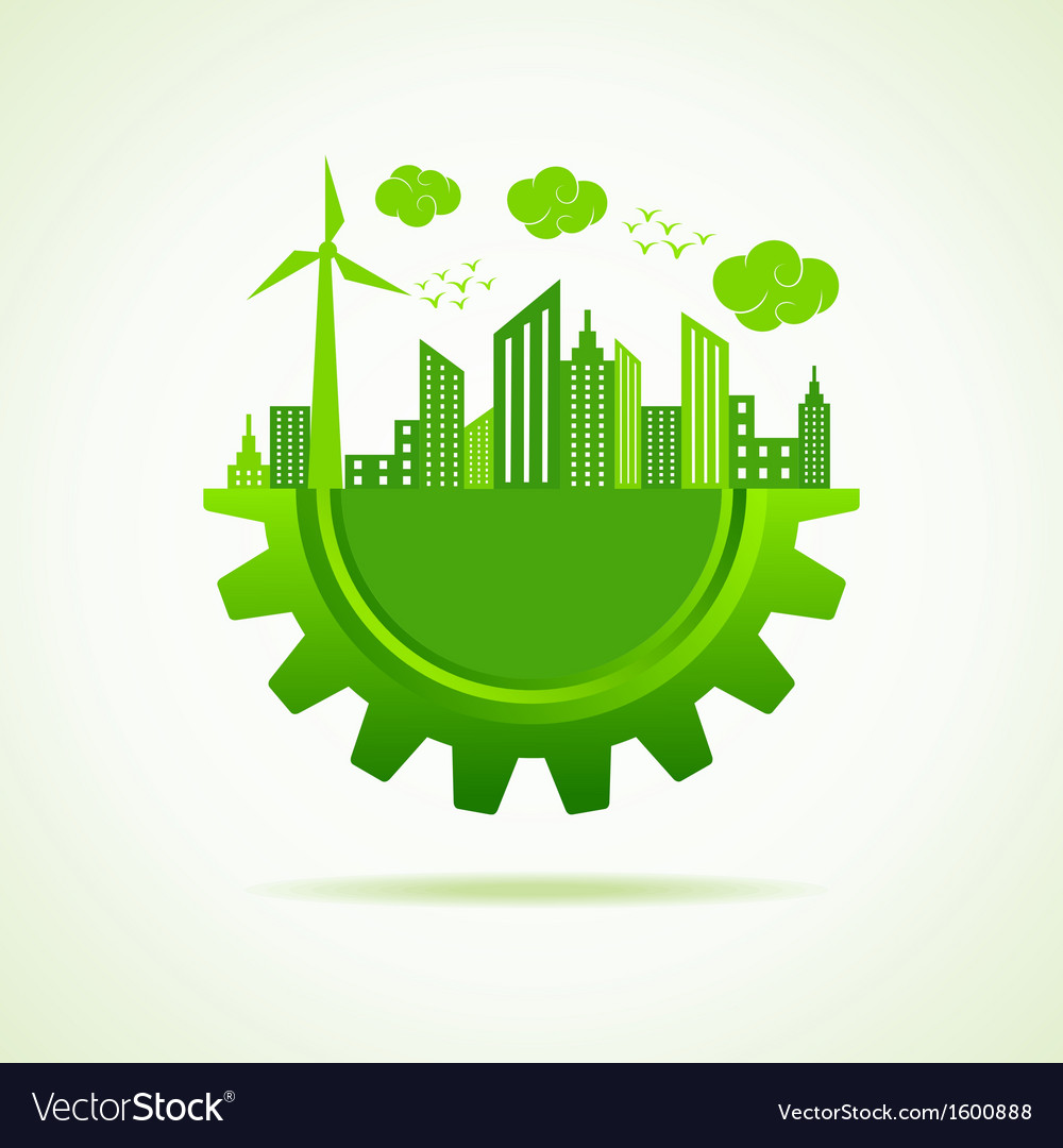 Eco a cityscape with gear vector | Price: 1 Credit (USD $1)